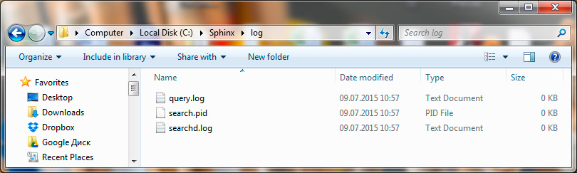 Установка и настройка Sphinx на Windows. Создание файлов query.log, searchd.log, search.pid